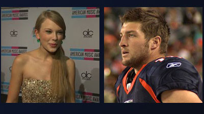 Country singer Taylor Swift and Denver Broncos quarterback Tim Tebow