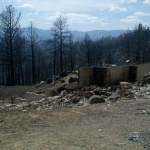 Home destroyed by the Lower North Fork Fire. Jefferson County, Colorado. March 28, 2012.