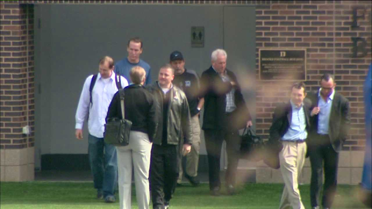 Peyton Manning worked out for Broncos coaches and executives Friday in Durham, North Carolina.