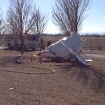 Plane crashes east of Fort Collins. Photo courtesy: Poudre Fire Authority