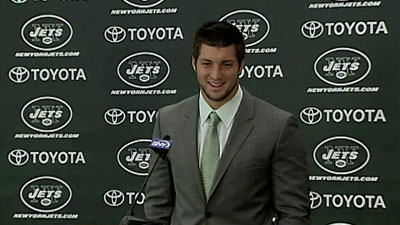 Tim Tebow talks to reporters for the first time as a member of the New York Jets on March 26, 2012. (Photo: CNN)