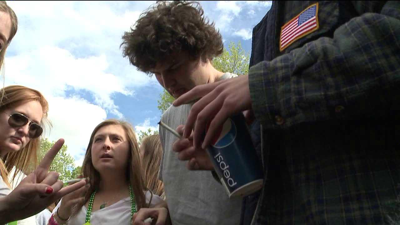 Boulder students participate in an April 20, 2012 marijuana event on the CU-Boulder campus.
