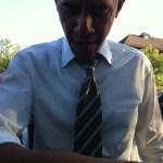 President Obama after yogurt spilled on him. Photo courtesy: Kolbi Zerbest. April 24, 2012