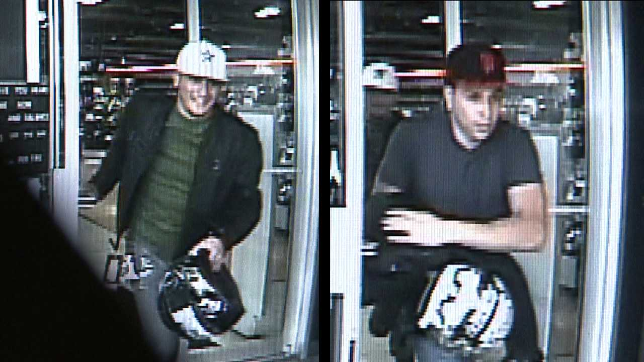 Surveillance image of suspects wanted in bike shop theft