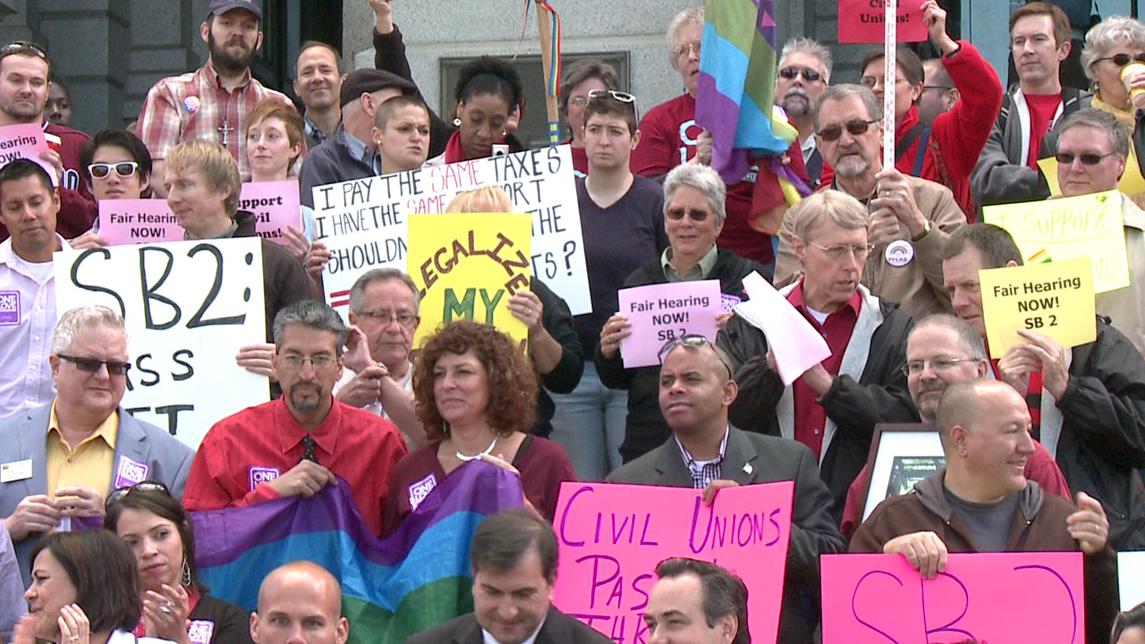 Pro-civil unions rally at Colorado State Capitol. May 8, 2012.