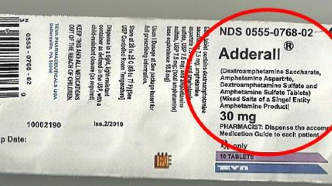 Conterfeit Adderall label. Courtesy: FDA. May 2012