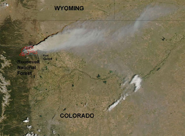 Satellite photo of the High Park Fire. June 10, 2012.