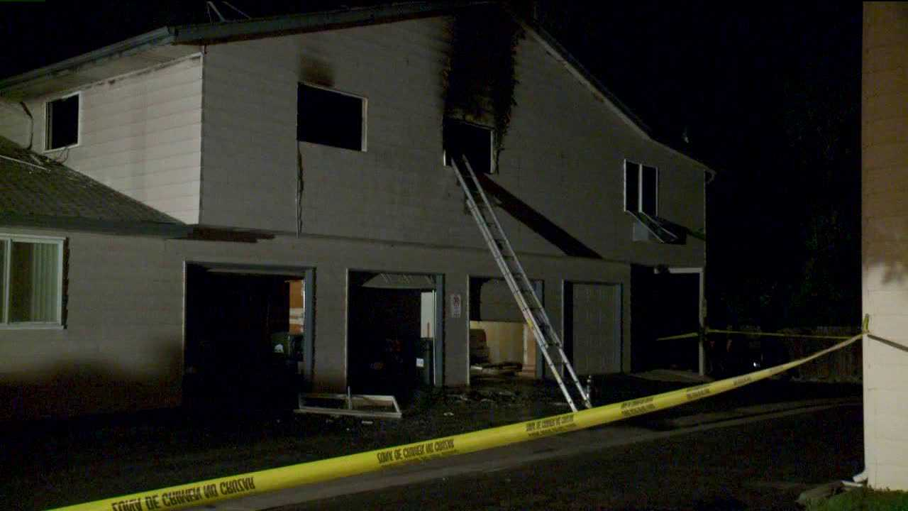 Fire flares up at 71 N Newark St. in Aurora, July 23, 2012.