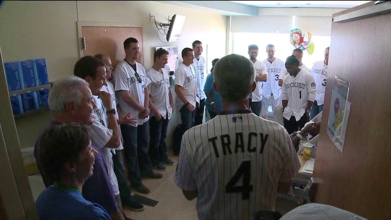 Colorado Rockies players visit University Hospital patients. July 26, 2012
