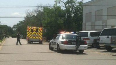 An ambulance leaves the scene of a shooting near Texas A&M University. Aug. 13, 2012. (Credit: kdanielleluna)