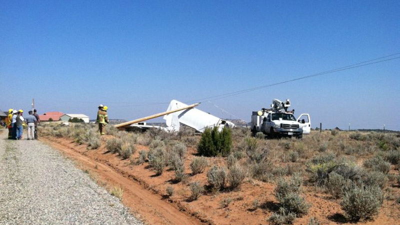 A small aircraft crashed in Glad Park when it became entangled in power lines on Sept. 18, 2012. (Mesa County Sheriff's Office)