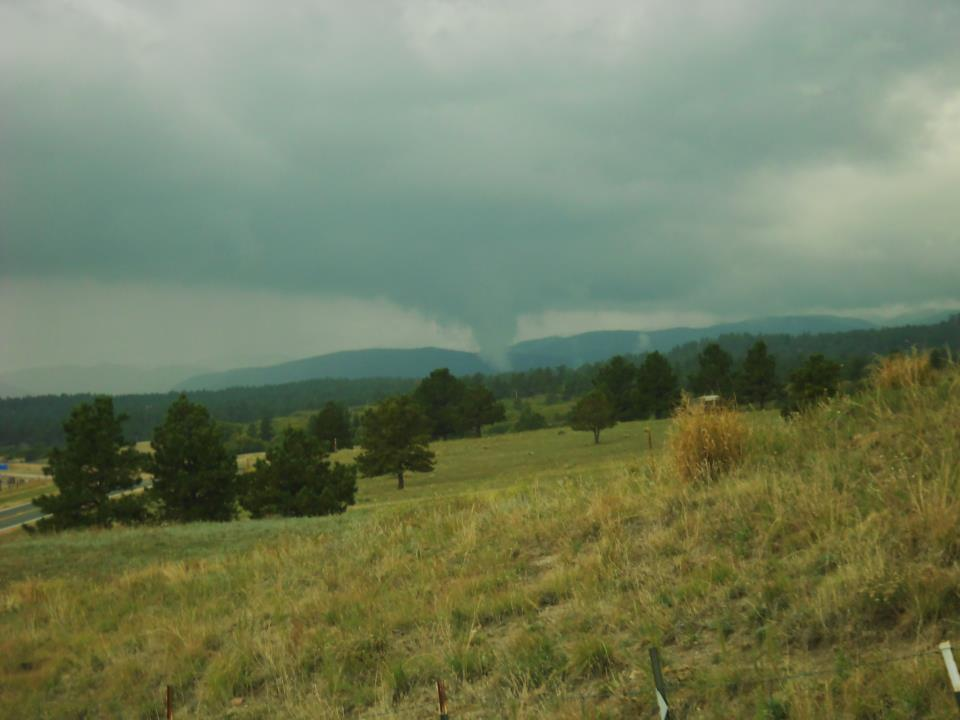 A tornado gets close to touching down at approximately 1:30 p.m. on Sept. 27, 2012. The photo was taken at Tomah Road and Bear Dance in Larkspur. (Denise Disinger)