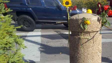 Memorial for Laura McDermott at S. Broadway and Cedar Ave. in Denver. Sept. 24, 2012