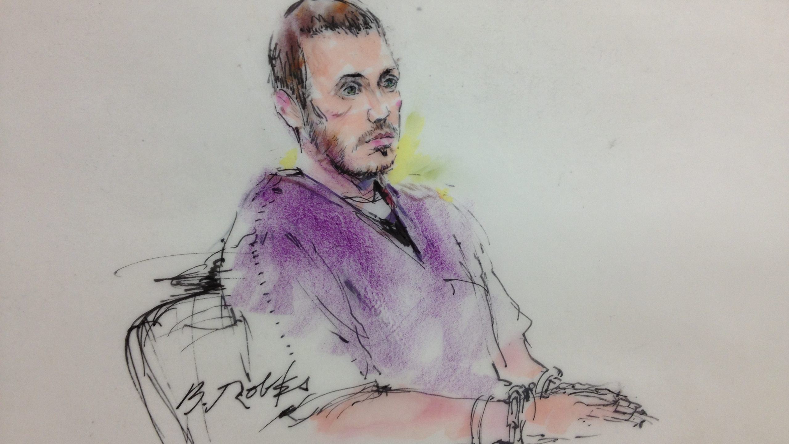 A sketch of James Holmes at a court proceeding on Sept. 20, 2012. (Sketch: Chris Mosher)