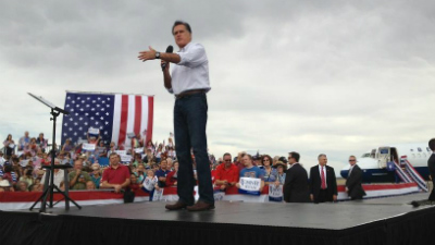 Romney speaks at a campaign event in Pueblo on Sept. 24, 2012.