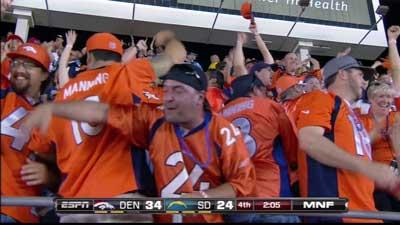 Broncos fans in San Diego celebrate comeback win. Image courtesy: ESPN