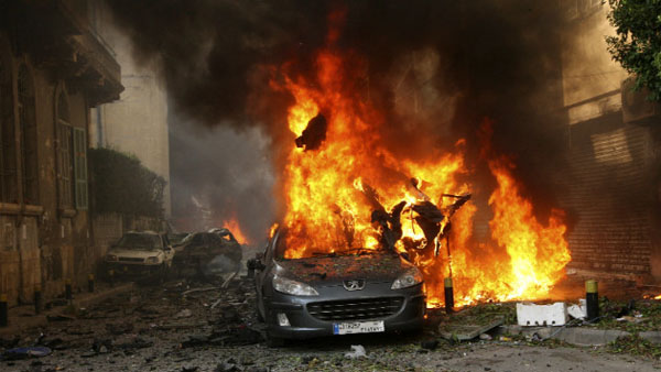 A car burns after an explosion in Beirut, Lebanon, on Friday, October 19. The blast hit the Ashrafiyeh district in East Beirut, a predominantly Christian area. (CNN)