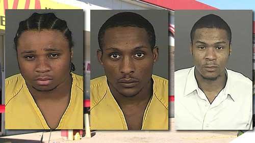 Dexter Lewis, left, Lynell J. Hill, center, and Joseph N. Hill mugshots. Photos: Denver Police Dept.