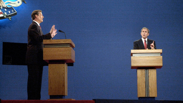 Former Vice President Al Gore on a high-stakes debate stage himself in 2000, debating then-Gov. George Bush at the University of Massachusetts in Boston. (CNN)