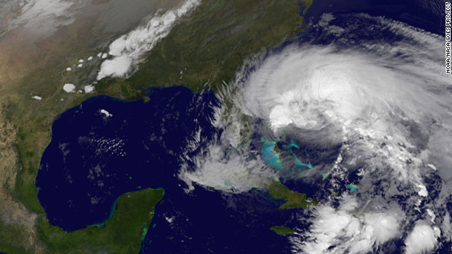 A satellite image of Hurricane Sandy from the National Oceanic and Atmospheric Administration (NOAA) taken on Friday (CNN)