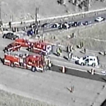 A CDOT camera shows emergency crews arriving to the scene of an accident that injured two pedestrians on South Broadway near the entrance ramp to C-470 on Nov. 20, 2012. (Photo: CDOT)
