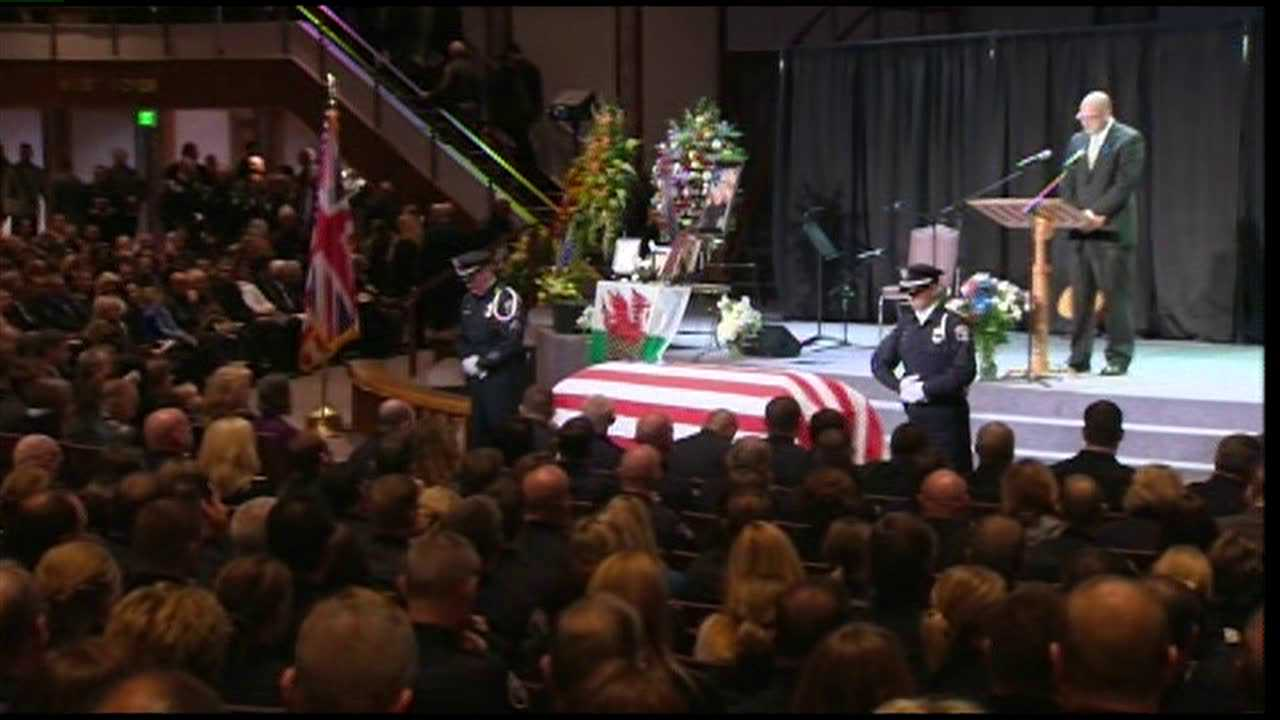 The funeral service for Officer James Davies Nov. 15, 2012.