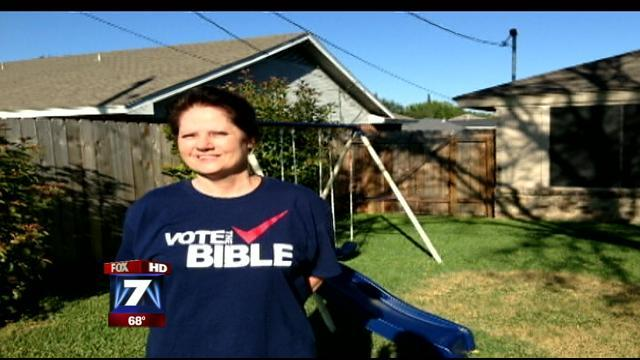 Kay Hill was forced by election officials to cover this shirt before voting in Taylor County, Texas (Photo: MyFoxAustin.com)