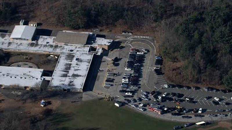 First responders surround Sandy Hook Elementary School in Newtown, Conn. after a fatal shooting on Dec. 14, 2012. (Photo: CNN)