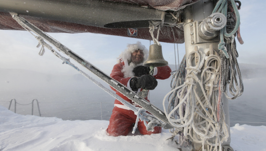 Valery Kokoulin, 47, rings a bell on his yacht to mark the end of the sailboat season on Friday, December 7, on the Yenisei River outside Krasnoyarsk, Russia. Temperatures in the Siberian city dipped to minus 9.4 degrees Fahrenheit. (Photo: CNN)