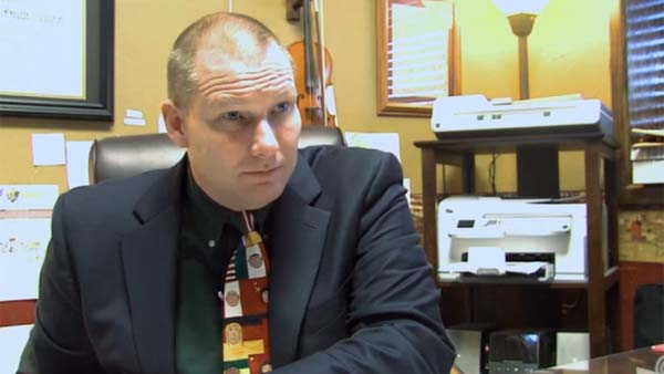 """Superintendent David Thweatt allows his teachers to carry guns, saying """"My goal if someone comes into hurt my little ones: That person gets killed."""" (Photo: KAUZ)"""