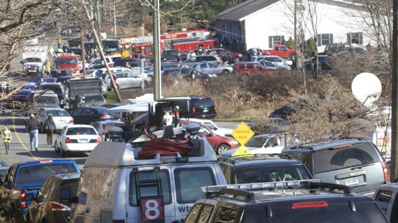 The streets around Sandy Hook Elementary are packed with first responders and other vehicles. (Photo: CNN)