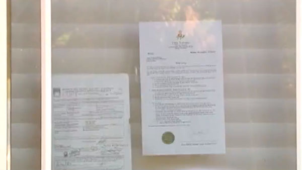 The adverse possession claim that makes this mansion the squatter's current home. (Photo: WPTV)