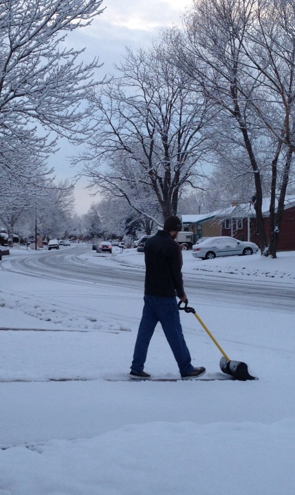 "Shoveling the ""seasonally-appropriate"" snow in Northglenn."