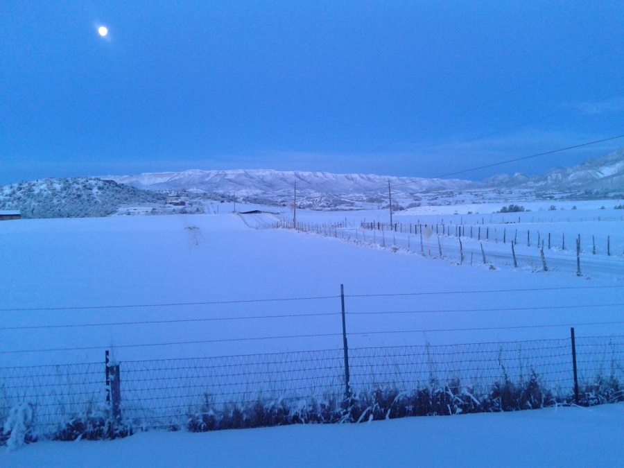 Another snowy moon set.