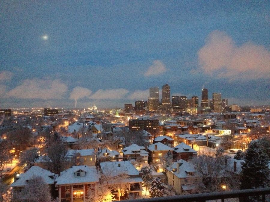 A snow storm began to push into Denver on Saturday afternoon.
