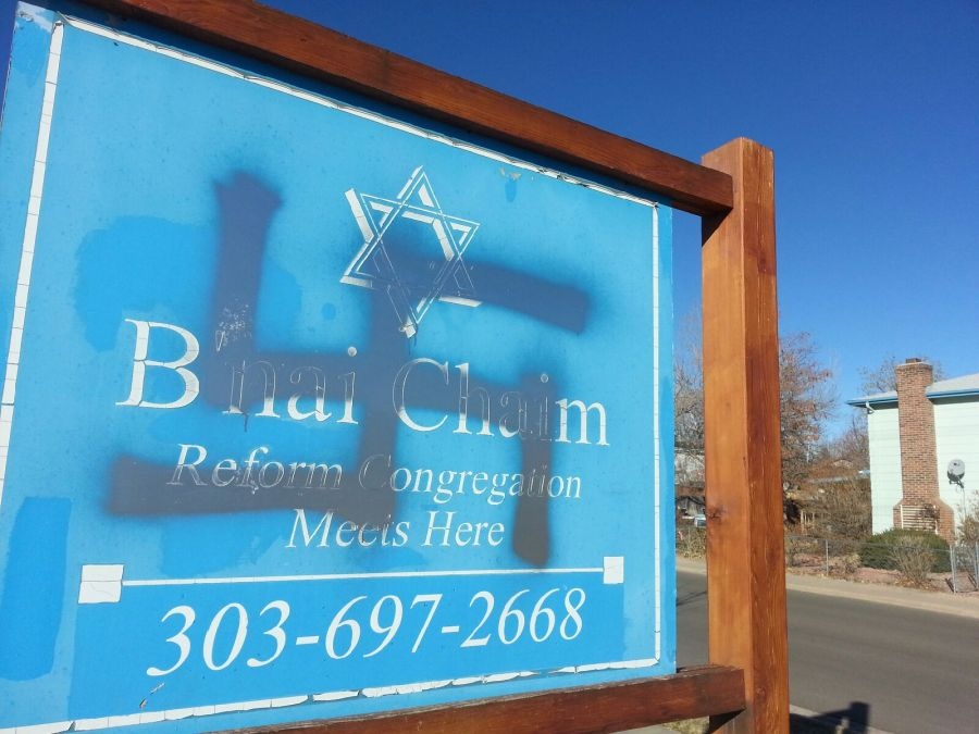 The B'nai Chaim Synagogue in Morrison was vandalized with swastikas on 2 separate occasions during the week of Dec. 30, 2012. (Photo: Anti Defamation League)