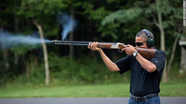 President Obama skeet shooting in photo released by White House (CNN)