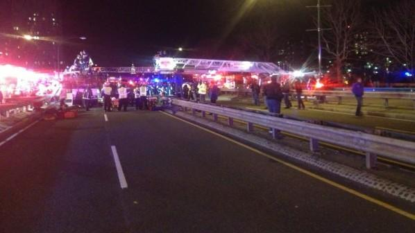 32 people were injured after a bus crashed into an overpass on Saturday night (Twitter: @Bostonfire)