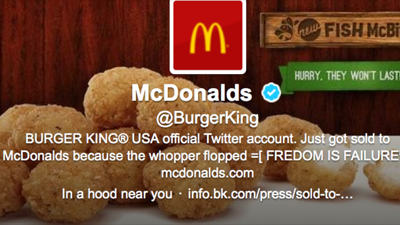 A close up of Burger King's hacked profile description on Feb. 18, 2013. (Photo: Twitter/Burger King)