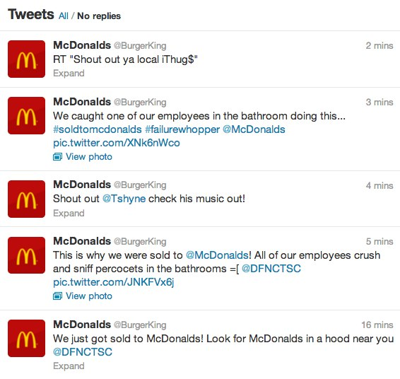Some of the tweets sent out by Burger Kings hacked account on Feb. 18, 2013. (Photo: Twitter/Burger King)