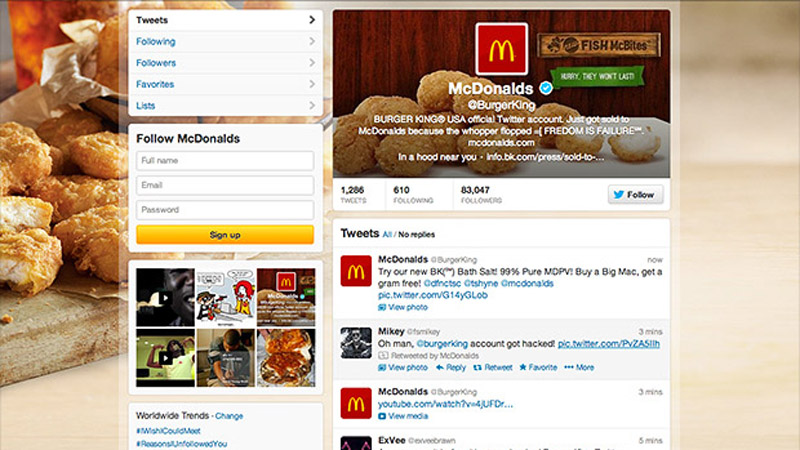 This was Burger King's Twitter profile for several hours on the morning of Feb. 18, 2013. (Photo: Twitter/Burger King)