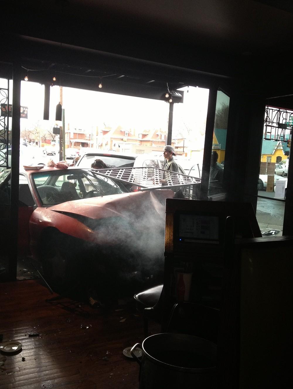 A car slammed into Gaetano's Italian Restaurant at 3670 Tejon St. Sunday afternoon.