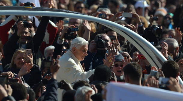Benedict waves from to the crowd as he arrives at St. Peter's Square on Feb. 27, 2013. (Photo: CNN)