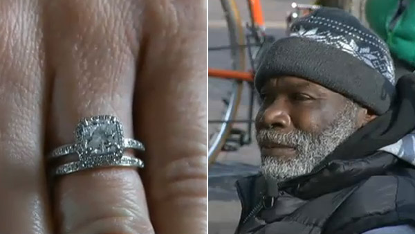 Billy Ray Harris, left, returned this engagement ring belonging to Sarah Darling after she accidentally gave it to him. (Photo: KCTV)