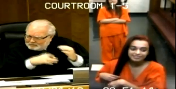 A Florida teen was slapped with contempt charges after she flipped off a judge. (Credit: YouTube)