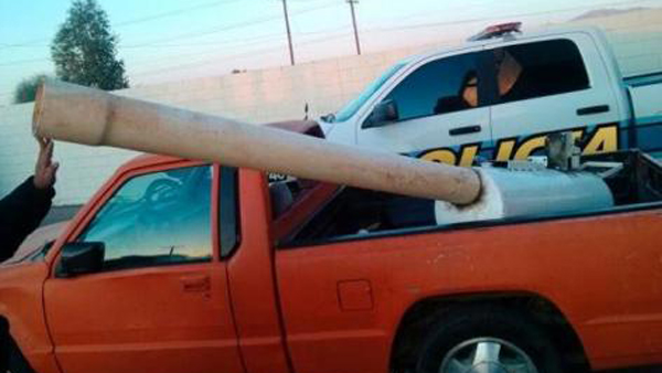 This marijuana cannon reportedly used compressed air from a car engine to launch marijuana packages over the border between the U.S. and Mexico (Photo: Mexicali Safety Department)