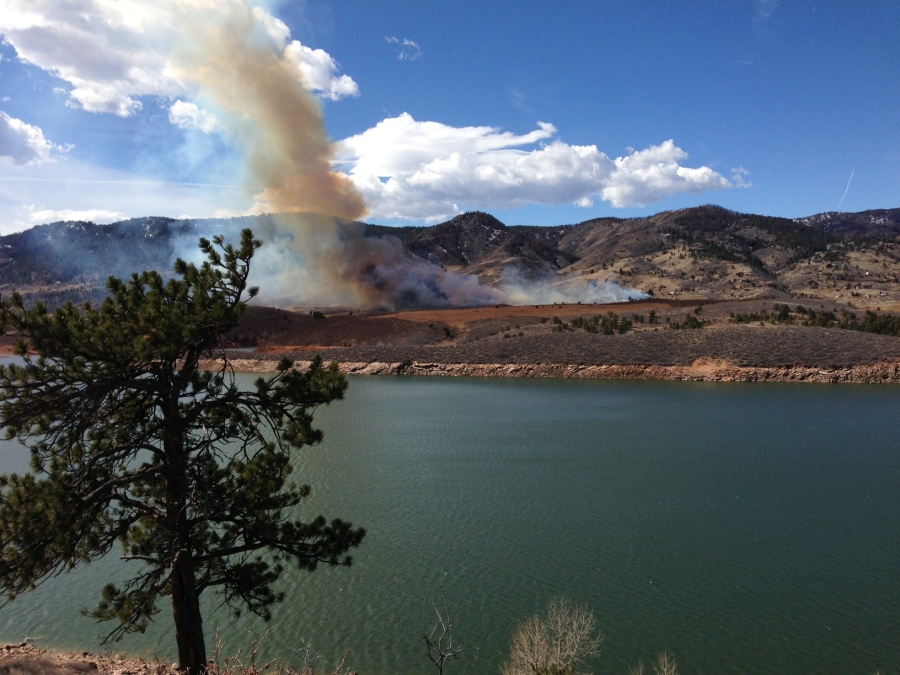 A fire was sparked near the entrance of Lory Park in Larimer County on March 15, 2013. Smoke was visible from Fort Collins. (Photo: Twitter / Jason Speciner)