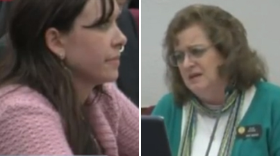 Amanda Collins, left, insists she could have prevented her rape if she was able to carry a gun on a Nevada college campus. Sen. Evie Hudak, right, isn't so sure. (Photo: YouTube)
