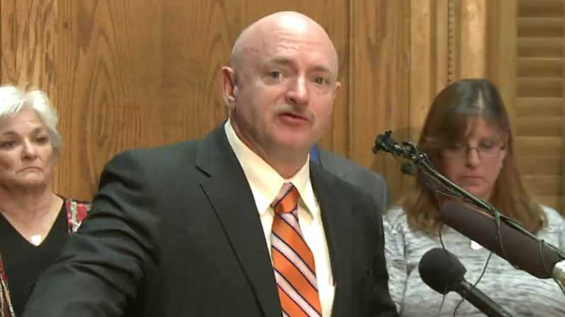 Mark Kelly, the husband of former Arizona Congresswoman Gabby Giffords testifies in favor of gun control legislation at the Colorado State Capitol.