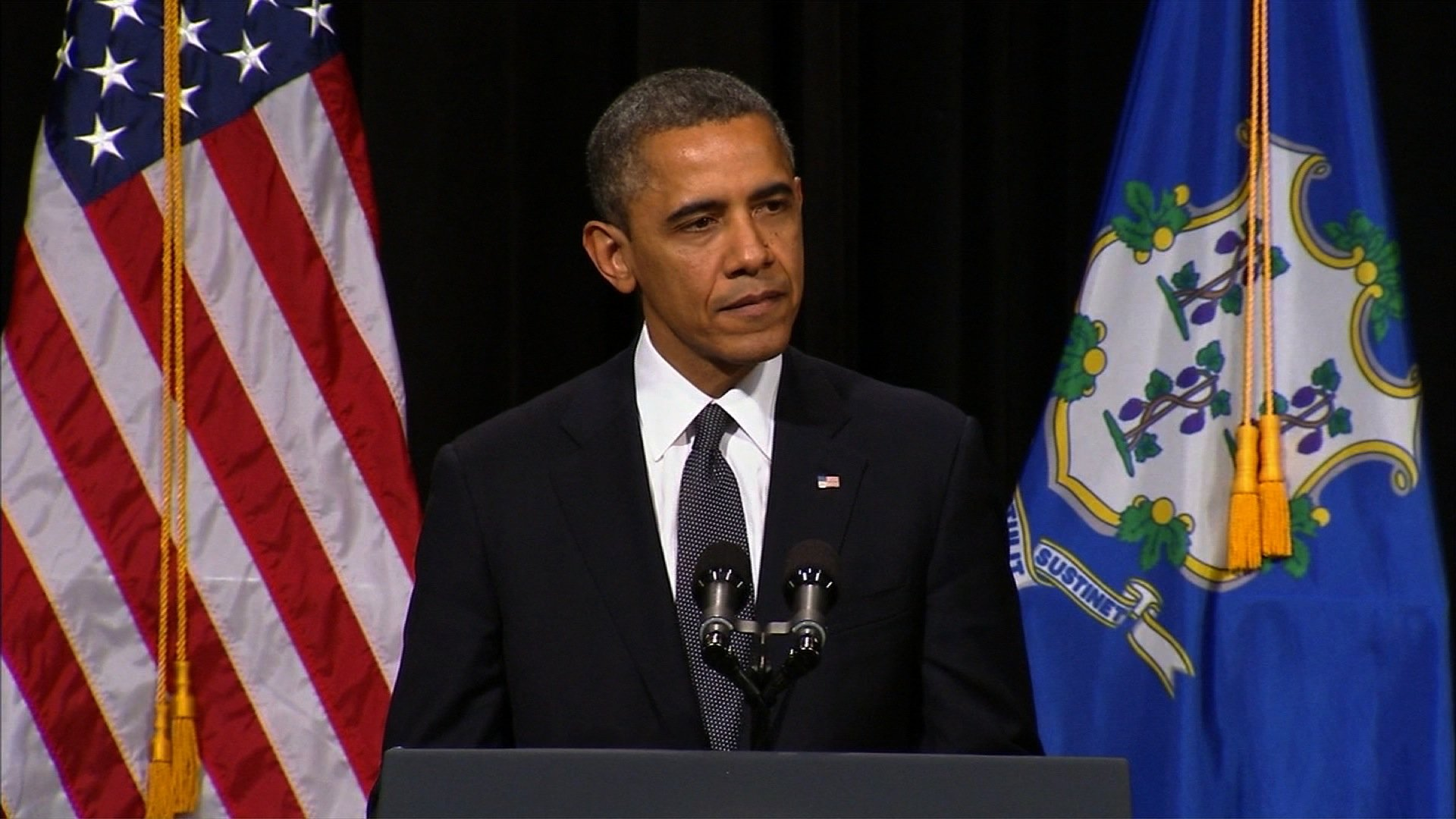 President Obama spoke at an interfaith prayer service in Newtown, CT, following a mass shooting that killed 20 first-graders. (Credit: CNN)